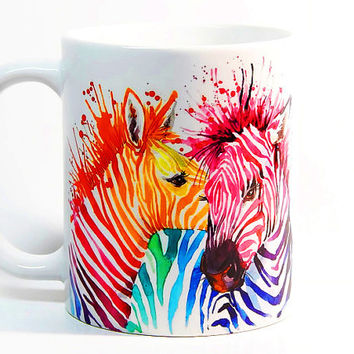 Zebra coffee mug, Zebra mug Watercolor Mug, Gift mug, Coffee Cup, Tea Cup, Gift for her, Gift for him, Printed mug, Ceramic mug Zebra gift