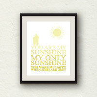 You Are My Sunshine - Couple Art - Yellow Ombre Couple Print - 8x10 graphic print