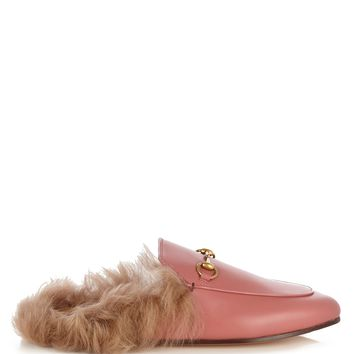 Princetown fur-lined leather backless loafers | Gucci | MATCHESFASHION.COM