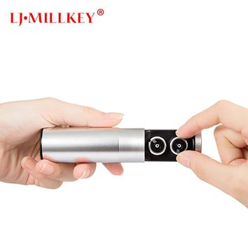 Mini Headset 3D Stereo Hands-free Noise Reduction Bluetooth Headset Wireless Earphones and Power Bank box YZ116