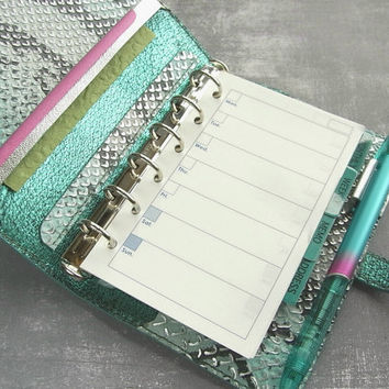 leather binder, ice mint python, metallic silver, snake planner, mint journal, handstitched