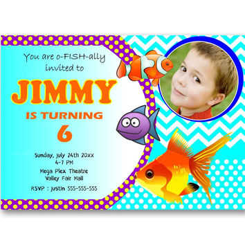 Fishes Birthday Chevron Polka Dot Kids Birthday Invitation Party Design