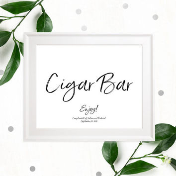 Stylish Hand Lettered Cigar Bar Wedding Sign-Printable Calligraphy Cigars Sign-DIY Handwritten Style Cigar Favors Sign-Cigars Sign