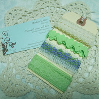 Purple, Green, and Ivory Lace Kits, Lace Inspiration Kits, Craft Inspiration, Lace Trim on Tag, Lace Samples by MarlenesAttic