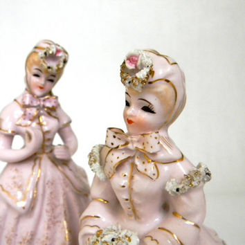 Lefton Ladies in Pink  vintage figurines by Mylittlethriftstore