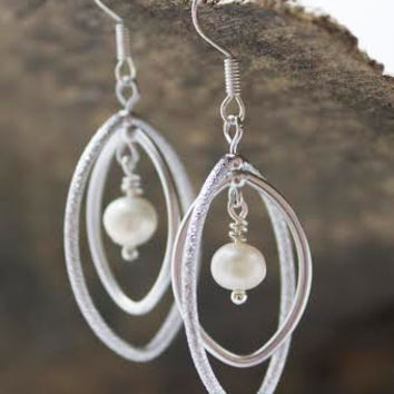 Silver Stardust Rotating Marquis Hoop Earrings with Freshwater Pearls