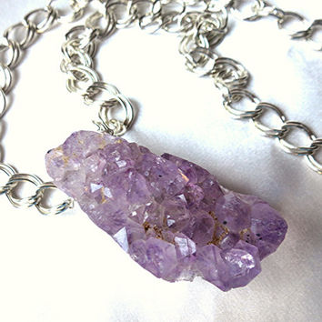 Unique raw crystal Amethyst druzy necklace. Modern and earthy, purple stones. Long, bold, statement jewelry. February birthstone. OOAK