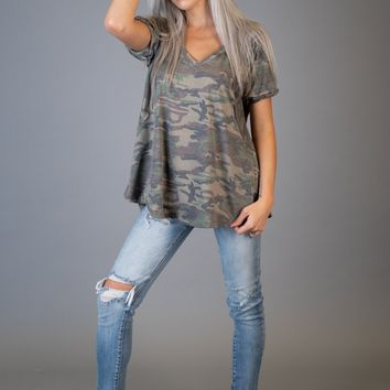 Wishlist Camo V Neck Top