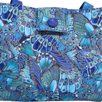 Purse in Butterfly Shimmer Fabric in Teal Blue and Gold