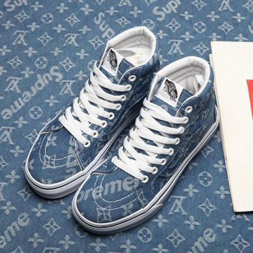 Vans & Supreme & Louis Vuitton SK8-Hi Denim High-top Sneaker