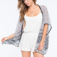 Full Tilt Border Print Womens Kimono Multi  In Sizes