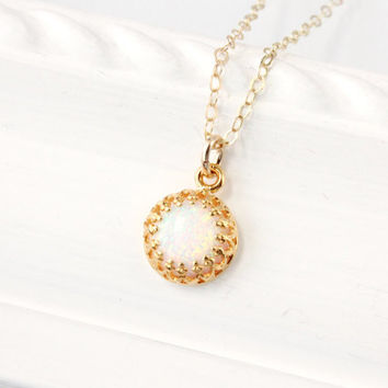 Opal necklace, 8 mm white lab opal in a gallery crown gallery setting, gold plated silver vermeil setting on a gold filled chain