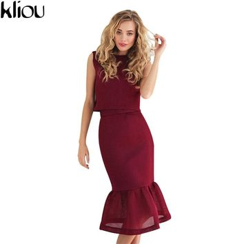 Kliou 2017 summer women set short sleeveless tops Fishtail skirt Space cotton two piece sets women fashion streewear Tracksuits