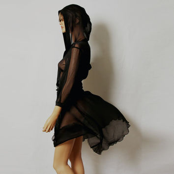 Black sheer silk hooded dress