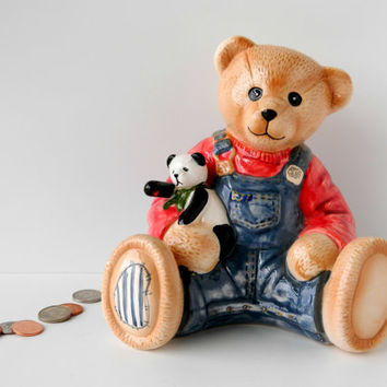 Vintage Children's Bank. Teddy Bear, Coin, Money, or Piggy Bank. Child's Bedroom Decor. Baby Nursery Decoration. Kid's Gift.