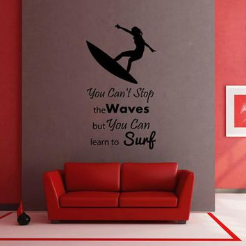 ik2588 Wall Decal Sticker inscription surf board sports shop stained living room