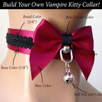 Build Your Own Vampire Kitty Satin Lined Kittenplay Petplay Collar PLEASE READ DESCRIPTION