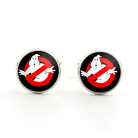 Silver Mens Cufflinks - Ghost Jewelry - Ghostbuster Cufflinks - Supernatural Comedy Accessories for Men - Gifts for Him - Gifts under 15