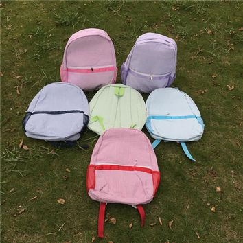 Seersucker Backpack in Cotton Fabric with Zipper Closure for school kids bag in Five Colors DOM106031