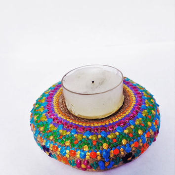 Boho tea light Artisan stone Painted stone Bohemian decor Boho decor