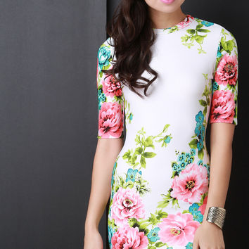 Floral Bodycon Half Sleeve Mini Dress
