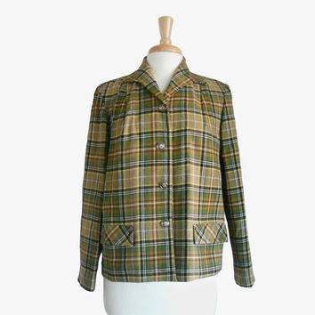 Vintage 1970s Blazer Pendleton Wool Jacket Brown, Tan, Oatmeal, and Olive Green - Three Button Closure with Two Front Pockets  Size 16 L/XL