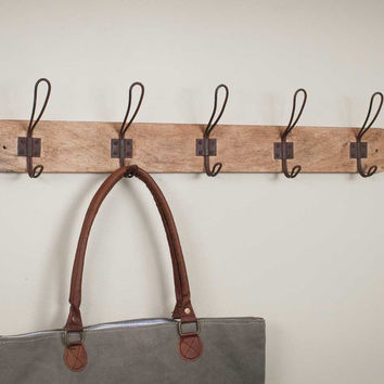 Rustic Wood Entryway Rack With 5 Vintage Style Hooks - Set Of 2 - *FREE SHIPPING*