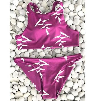 """Gotopfashion Sexy new arrival red white print vest high neck two piece bikini back lace up hollow swimsuit"""""""