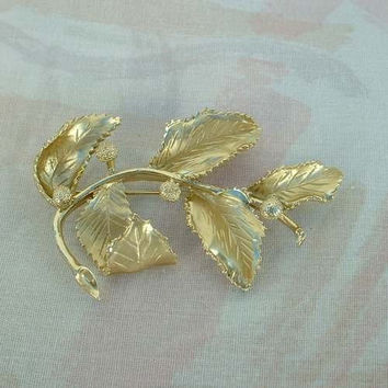 CORO Large Floral Brooch Leaves Seed Pods c1950 Vintage Jewelry