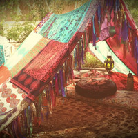 Boho tent teepee Bohemian Meditation silk hippy scarves Gypsy hippie patchwork canopy Wedding Decor photo prop  Bohemian Coachella Festival
