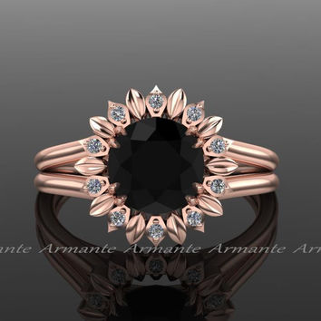 Sun Flower Engagement Ring, Black Diamond Engagement Ring, Diamond Ring, Rose Gold, Wedding Ring Right Hand Ring. Re00032