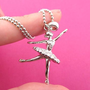 3D Ballet Ballerina Dancer Themed Necklace in Silver | DOTOLY