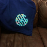 NEW Monogrammed Sweatshirt Blanket Lilly Fabric Font Shown Natural Circle Applique