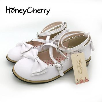 New 2016 LOLITA low round with cross straps bow cute girls princess tea party shoes women flats students lovely shoes size 34-40
