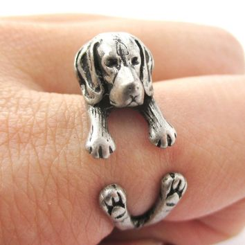 Realistic Beagle Puppy Shaped Animal Wrap Ring in Silver | Sizes 4 to 8.5