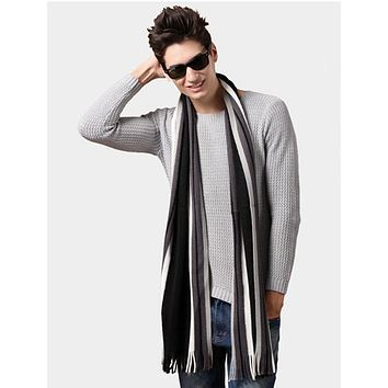 2017 Autumn Winter Men Boys Scarves Casual Warm Stripe Print Knitting Man Leisure Scarf Shawls Outdoor Wraps