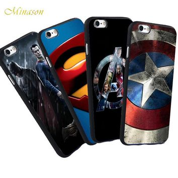 Batman Dark Knight gift Christmas Minason Marvel For iPhone X 8 5 S 5S SE 6 6S7 Plus Case Captain America Shell Superman Batman Soft Silicone Phone Rubber Cover AT_71_6