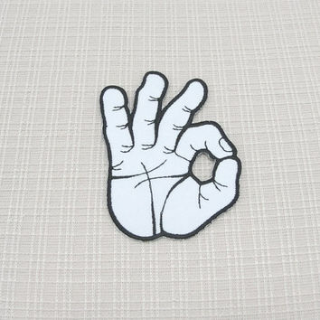 Iron on patch. A O K fingers  patch