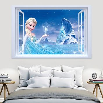 Brand New Cartoon Snow Queen Princess Frozen 3D Wall Sticker For Kids Rooms Wall Decals Home Decor Adesivo De Pared Mural Poster
