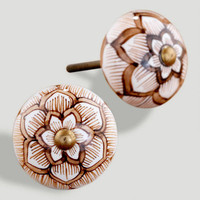 Round Ceramic Floral Knob, Brown, Set of 2
