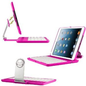 CoverBot iPad Mini 3, iPad Mini Retina Display and iPad Mini Ultra Bluetooth Keyboard Station HOT PINK with Magnetized Detachable Case For 7.9 Inch New Mini iPad with IOS Commands. Folio Style Cover with 360 Degree Rotating Viewing Stand Feature