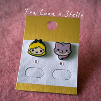 Earrings Alice in Wonderland and Cheshire Cat - Disney - cute