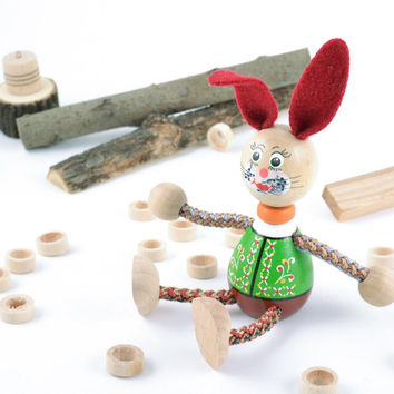 Painted eco friendly wooden homemade eco toy rabbit with red ears for children
