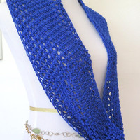 Royal Blue Infinity Scarf with Sparkles, hand crochet cowl, gift for her under 40