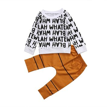 Pudcoco 1-6Y Fashion Newborn Infant Baby Boys Tops Letters Sweaters T-shirt Long Brown Pants Outfits Set Clothes Cute