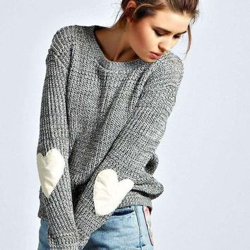 MDIGHQ9 Gray Heart Print Elbow Knitted Sweater