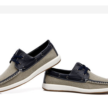 2016 British Style Fashion Men Boat Shoes Summer Breathable Youth Canvas Cowhide Lace Up Casual Flats Men Sperry Shoes Round Toe