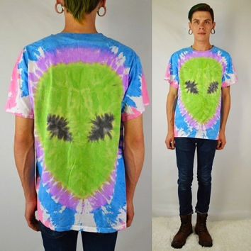 Alien Tie Dye Pastel Shirt MEN Large Soft Grunge Cyber Womens Handmade Clothing Unisex Alien Head Green Pink Lavender Blue Funky