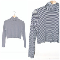 cropped TURTLE neck vintage 90s nautical STRIPED club kid JERSEY crop top os open size