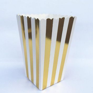 Set of 12 (12pcs/lot) Gold Striped Popcorn Boxes Bags Kids Party Treat Boxes Candy Favor Bags Movie Wedding Birthday Decorations